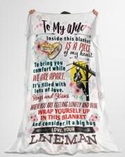 """LINEMAN'S WIFE Large Fleece Blanket - 60"""" x 80"""" aos-coral-fleece-blanket-60x80-lifestyle-front-10"""