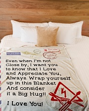 "Electrician's Wife  Premium Large Fleece Blanket - 60"" x 80"" aos-coral-fleece-blanket-60x80-lifestyle-front-02"