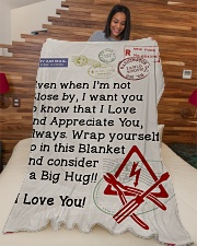 "Electrician's Wife  Premium Large Fleece Blanket - 60"" x 80"" aos-coral-fleece-blanket-60x80-lifestyle-front-04"