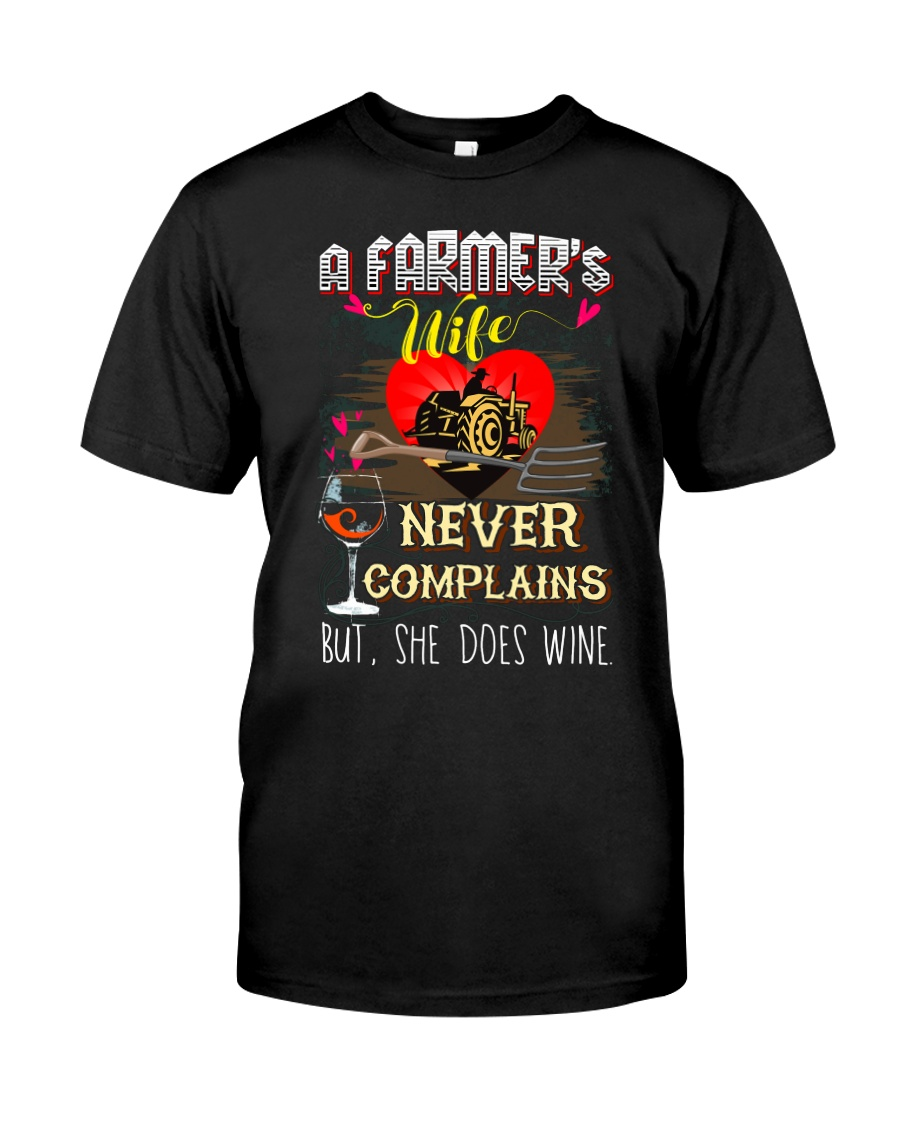 FARMER'S WIFE LOVES WINE Classic T-Shirt
