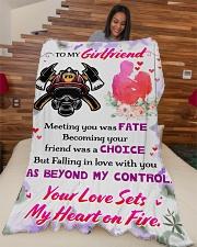 "Firefighter's Girlfriend  Premium Large Fleece Blanket - 60"" x 80"" aos-coral-fleece-blanket-60x80-lifestyle-front-04"