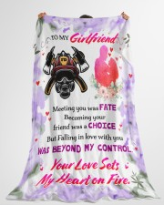 "Firefighter's Girlfriend  Premium Large Fleece Blanket - 60"" x 80"" aos-coral-fleece-blanket-60x80-lifestyle-front-10"