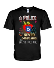 POLICE WIFE LOVES WINE V-Neck T-Shirt thumbnail