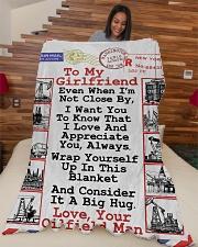 "Oilfield Man's Girlfriend  Premium Large Fleece Blanket - 60"" x 80"" aos-coral-fleece-blanket-60x80-lifestyle-front-04"