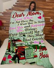 "Trucker's Mom Premium Large Fleece Blanket - 60"" x 80"" aos-coral-fleece-blanket-60x80-lifestyle-front-04"