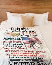 "VETERAN'S WIFE- PREMIUM Large Fleece Blanket - 60"" x 80"" aos-coral-fleece-blanket-60x80-lifestyle-front-02"