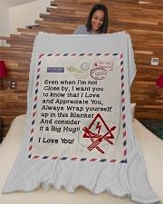 "ELECTRICIAN'S WIFE Large Fleece Blanket - 60"" x 80"" aos-coral-fleece-blanket-60x80-lifestyle-front-04"