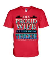 PROUD WIFE OF A TRUCKER V-Neck T-Shirt thumbnail