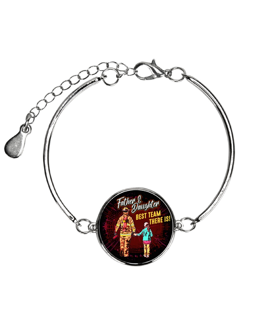 Firefighter Daughter Metallic Circle Bracelet