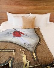 "Skiing - Premium Large Fleece Blanket - 60"" x 80"" aos-coral-fleece-blanket-60x80-lifestyle-front-02"