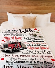 "Trucker's Wife  - Black Friday Sale Large Fleece Blanket - 60"" x 80"" aos-coral-fleece-blanket-60x80-lifestyle-front-02"