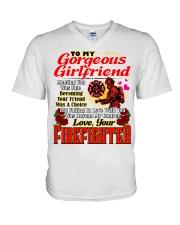 Firefighter's Girlfriend V-Neck T-Shirt tile