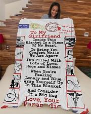 "Paramedic's Girlfriend  Premium Large Fleece Blanket - 60"" x 80"" aos-coral-fleece-blanket-60x80-lifestyle-front-04"