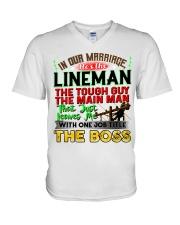 Lineman's Wife V-Neck T-Shirt tile