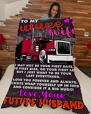 "Trucker's Future  Premium Large Fleece Blanket - 60"" x 80"" aos-coral-fleece-blanket-60x80-lifestyle-front-04"