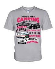 Camping Lady's Husband V-Neck T-Shirt tile