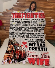 """Gift For Firefighter Premium Large Fleece Blanket - 60"""" x 80"""" aos-coral-fleece-blanket-60x80-lifestyle-front-04"""