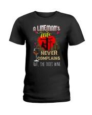 LINEMAN'S  WIFE LOVES WINE Ladies T-Shirt tile