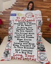 "FIREFIGHTER'S GIRLFRIEND- PREMIUM Large Fleece Blanket - 60"" x 80"" aos-coral-fleece-blanket-60x80-lifestyle-front-04"