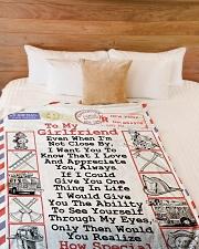 "FIREFIGHTER'S GIRLFRIEND- PREMIUM Large Fleece Blanket - 60"" x 80"" aos-coral-fleece-blanket-60x80-lifestyle-front-02"