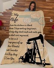 "Oilfield Man's Wife  Premium Large Fleece Blanket - 60"" x 80"" aos-coral-fleece-blanket-60x80-lifestyle-front-04"