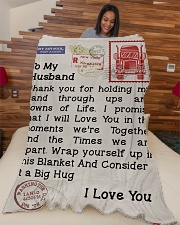 "Gift For Trucker Premium Large Fleece Blanket - 60"" x 80"" aos-coral-fleece-blanket-60x80-lifestyle-front-04"