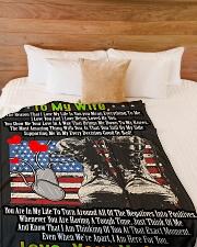 "Veteran's Wife  Premium Large Fleece Blanket - 60"" x 80"" aos-coral-fleece-blanket-60x80-lifestyle-front-02"