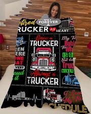 "Retired Trucker Premium Large Fleece Blanket - 60"" x 80"" aos-coral-fleece-blanket-60x80-lifestyle-front-04"