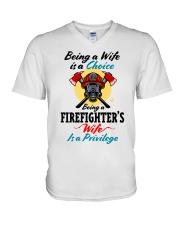 FIREFIGHTER'S WIFE V-Neck T-Shirt tile