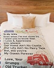 "OLD TRUCKER'S WIFE Premium Large Fleece Blanket - 60"" x 80"" aos-coral-fleece-blanket-60x80-lifestyle-front-02"