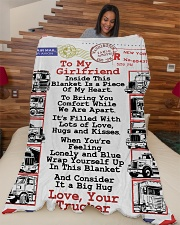 "TRUCKER'S GIRLFRIEND  Premium Large Fleece Blanket - 60"" x 80"" aos-coral-fleece-blanket-60x80-lifestyle-front-04"