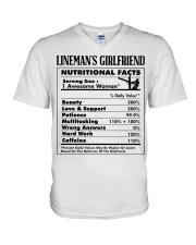 Lineman's Girlfriend V-Neck T-Shirt tile