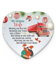 Trucker's Wife - Heart ornament - single (porcelain) front