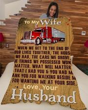 "Trucker's Wife  - Black Friday Sale Large Fleece Blanket - 60"" x 80"" aos-coral-fleece-blanket-60x80-lifestyle-front-04"