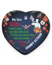 Veteran's Wife - Heart ornament - single (porcelain) front