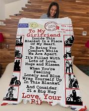 """Biker's Girlfriend  Premium Large Fleece Blanket - 60"""" x 80"""" aos-coral-fleece-blanket-60x80-lifestyle-front-04"""