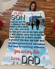 "Trucker's Son Large Fleece Blanket - 60"" x 80"" aos-coral-fleece-blanket-60x80-lifestyle-front-04"