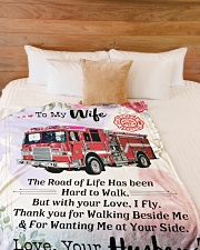 """Firefighter's Wife Large Fleece Blanket - 60"""" x 80"""" aos-coral-fleece-blanket-60x80-lifestyle-front-02"""