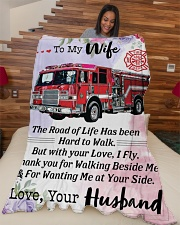 """Firefighter's Wife Large Fleece Blanket - 60"""" x 80"""" aos-coral-fleece-blanket-60x80-lifestyle-front-04"""