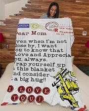 "Lineman's Mom Premium Large Fleece Blanket - 60"" x 80"" aos-coral-fleece-blanket-60x80-lifestyle-front-04"