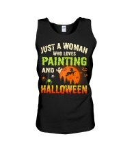 JUST A WOMAN WHO LOVES PAINTING AND HALLOWEEN Unisex Tank thumbnail