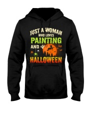 JUST A WOMAN WHO LOVES PAINTING AND HALLOWEEN Hooded Sweatshirt thumbnail