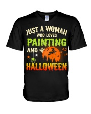 JUST A WOMAN WHO LOVES PAINTING AND HALLOWEEN V-Neck T-Shirt thumbnail