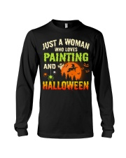 JUST A WOMAN WHO LOVES PAINTING AND HALLOWEEN Long Sleeve Tee thumbnail