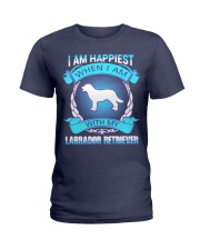 Iam happiest when i am with my Labrador Retriever Ladies T-Shirt thumbnail