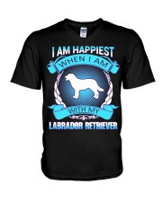 Iam happiest when i am with my Labrador Retriever V-Neck T-Shirt thumbnail