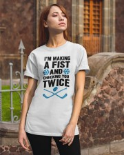 Making a Fist and Checking You Twice Hockey Christ Classic T-Shirt apparel-classic-tshirt-lifestyle-06