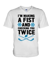 Making a Fist and Checking You Twice Hockey Christ V-Neck T-Shirt thumbnail