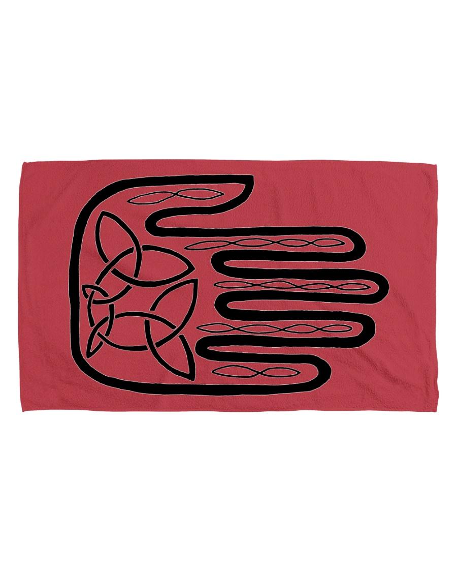 Mariah's Prologue One Man's Work Celtic Hand black Hand Towel (horizontal)