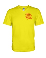 Make Racism Wrong Again - Red on Yellow V-Neck T-Shirt thumbnail